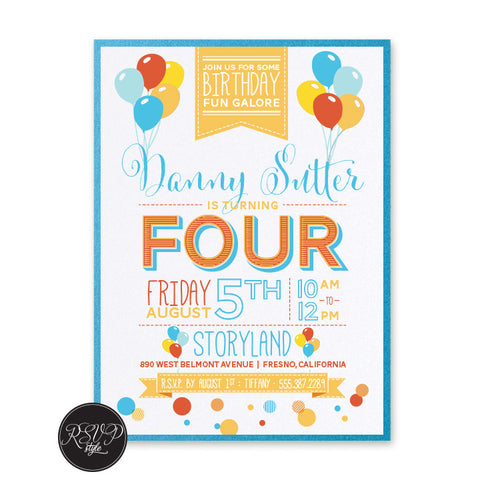 Balloon Party Birthday Invitation, RSVP Style - RSVP Style