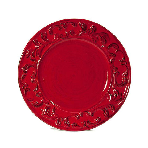 Baroque Red Dinner Plate, vendor-unknown - RSVP Style