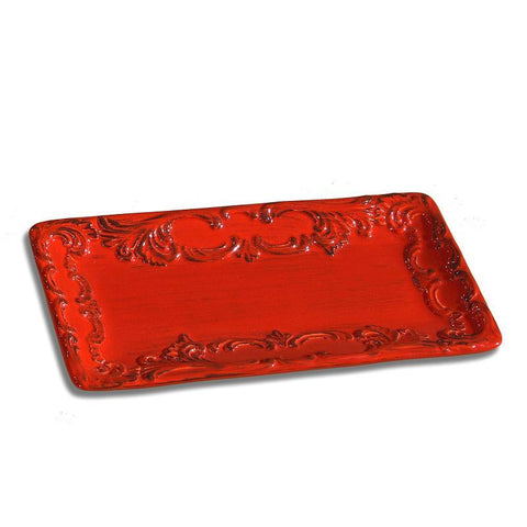 Baroque Red Rectangular Platter, vendor-unknown - RSVP Style
