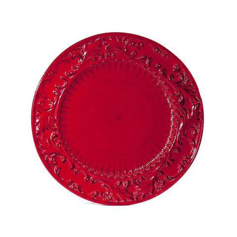 Baroque Red Round Platter