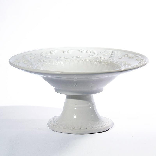 Baroque White Footed Bowl, vendor-unknown - RSVP Style