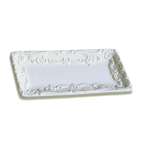 Baroque White Rectangular Platter, vendor-unknown - RSVP Style