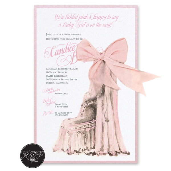Elegant Bassinet Baby Shower Invitation