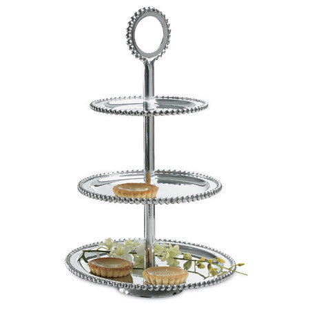 Beaded Three-Tier Serving Stand