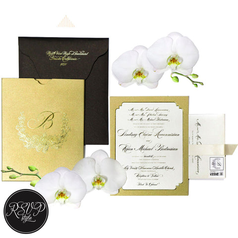Luxe Custom Crest Wedding Invitation Suite