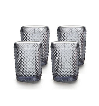 Bicos Grey Old Fashioned Glasses Set of 4 - RSVP Style
