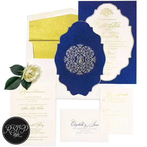Royal Blue Crest Custom Wedding Invitation Suite - RSVP Style