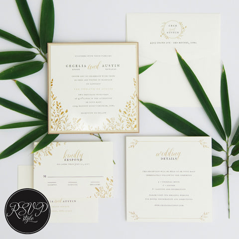 Botanical Edging Custom Wedding Invitation Suite