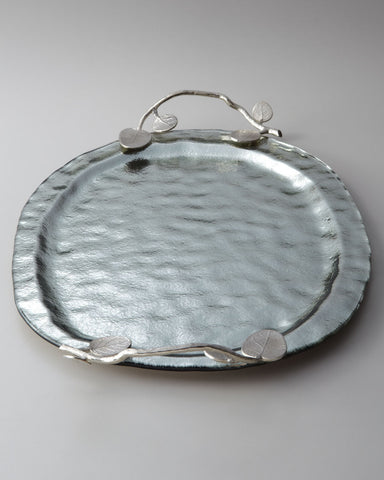 Botanical Leaf Oval Glass Tray