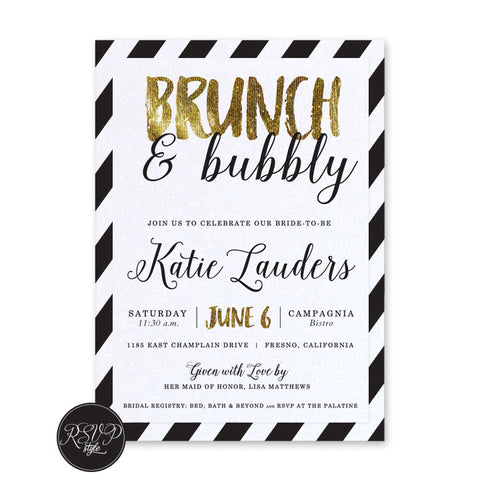 Brunch & Bubbly Bridal Shower Invitation, RSVP Style - RSVP Style