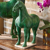 Green Han Horse with Antiqued Finish