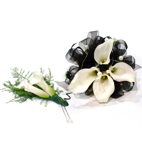 Mini Calla Corsage & Double Mini Calla Boutonniere