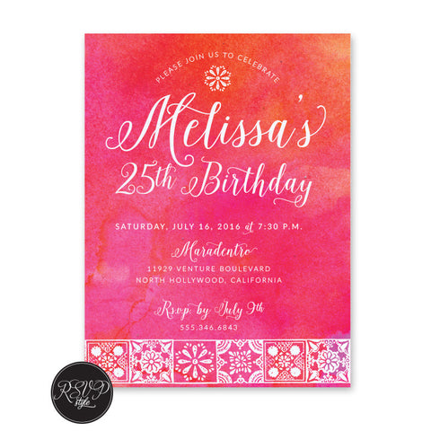 Cantina Talavera Birthday Invitation