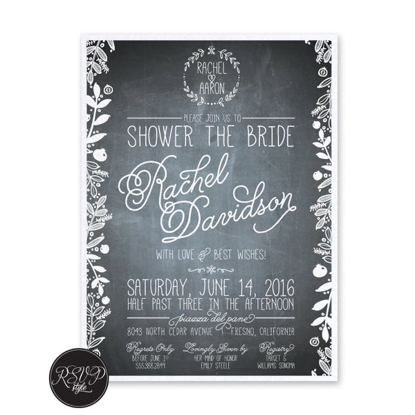 Chalkboard Bridal Shower Invitation - RSVP Style