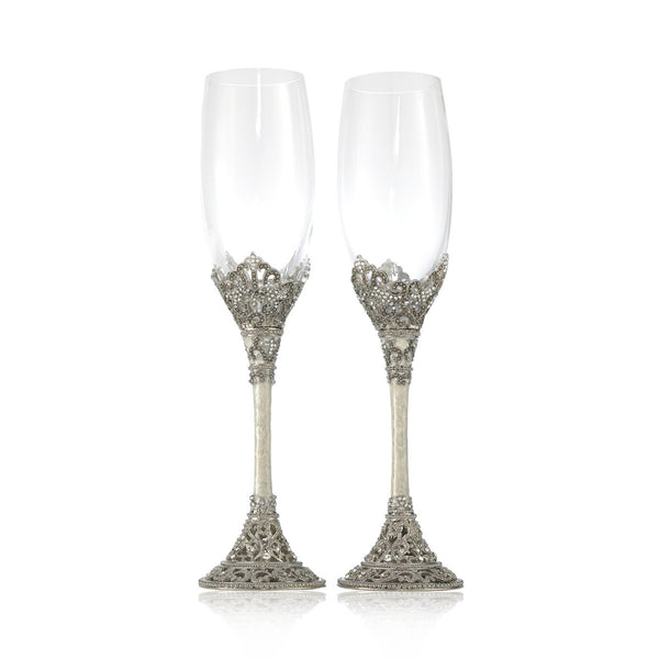 Celebration Swarovski Crystal Champagne Flute Pair