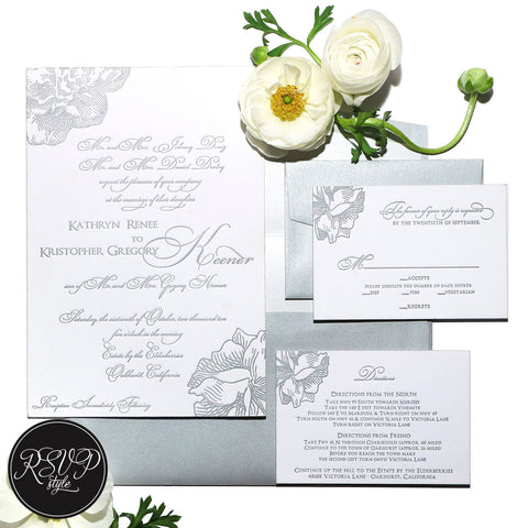 Contemporary Floral Wedding Invitation Suite - RSVP Style