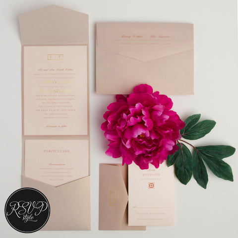 Contemporary Foil Monogram Wedding Invitation Suite