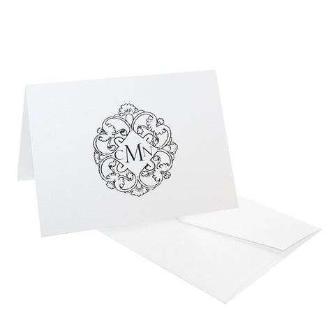 Serif Monogram Crest Personalized Stationery