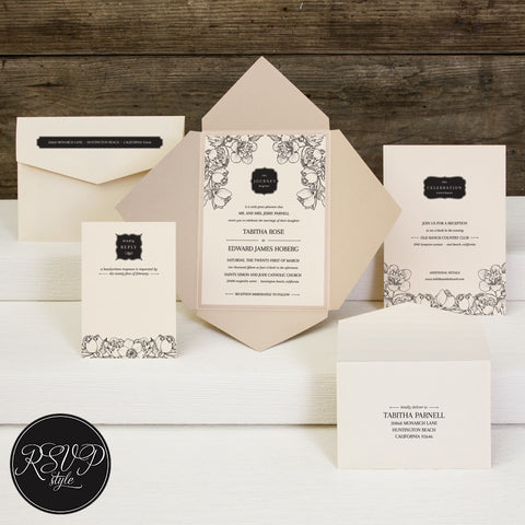 Dainty Modern Florals Wedding Invitation Suite