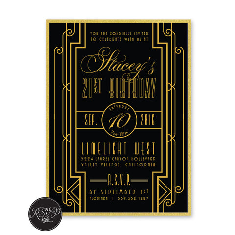 Deco Gatsby Birthday Invitation