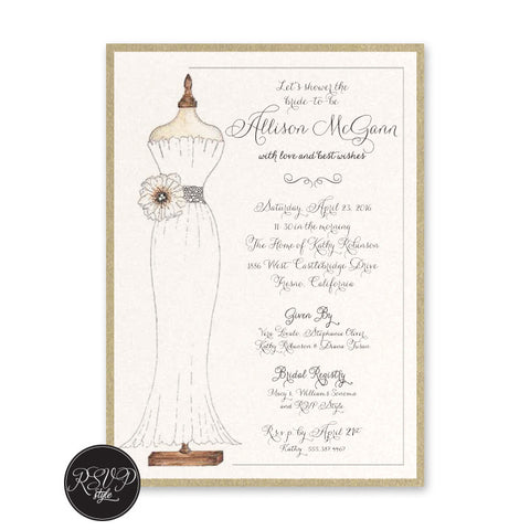 Belted Dress Bridal Shower Invitation, RSVP Style - RSVP Style