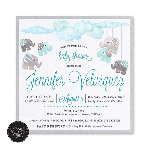Elephant Mobile Baby Shower Invitation
