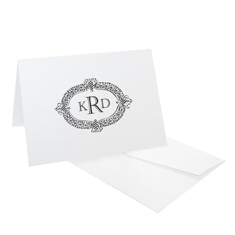 Engraved Serif Crest Monogram Personalized Stationery, RSVP-Style - RSVP Style