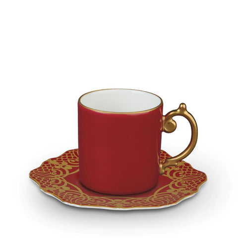 Alencon Red Espresso Cup & Saucer, L'Objet - RSVP Style