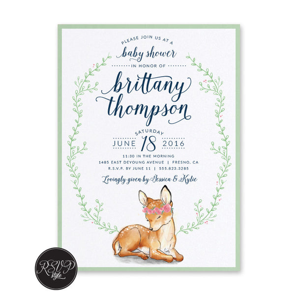 Little Fawn Baby Shower Invitation