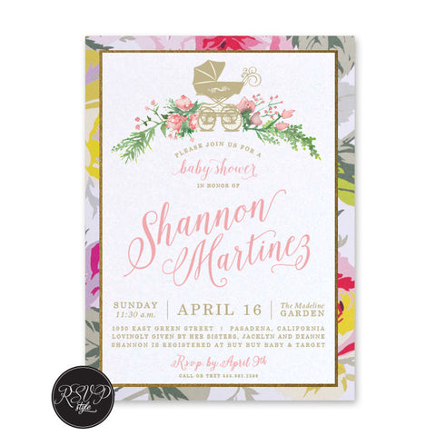 Floral Carriage Baby Shower Invitation