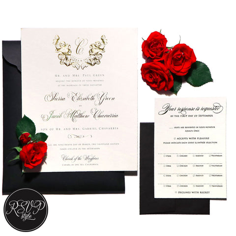 Baroque Crest Wedding Invitation Suite, RSVP Style - RSVP Style