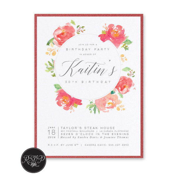 Painted Floral Circle Birthday Invitation