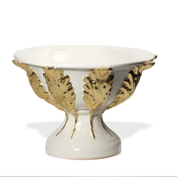 Gold Footed Bowl with Leaves
