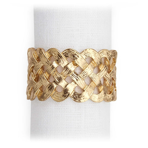 L'Objet Hollow Braid Gold Napkin Rings Set of 4 - RSVP Style