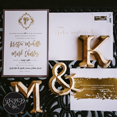 Modern Brushstroke Crest Wedding Invitation Suite
