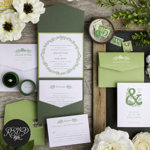 Gorgeous in Green Botanical Wreath Wedding Invitation Suite