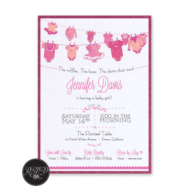 Custom Hanging Onesies Baby Shower Invitation – RSVP Style