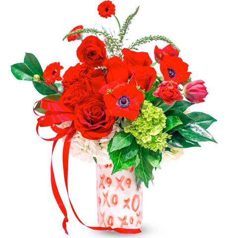 "Valentine's Day Flower Style ""XO Cross My Heart XO"". Delivery in Fresno and Clovis Available."