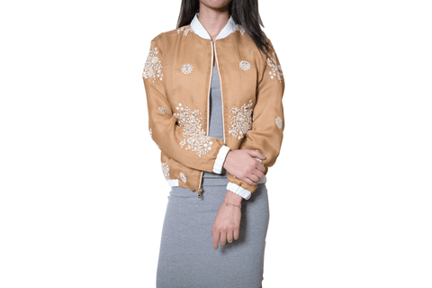 Talar Nina Honey Geo Floral Bomber Jacket