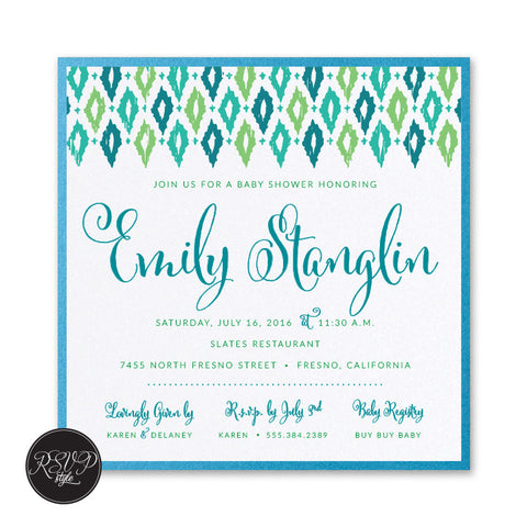 Playful Ikat Baby Shower Invitation