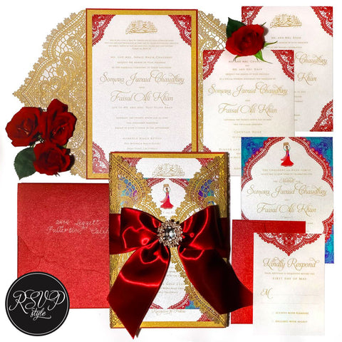Indian Lace Custom Wedding Invitation Suite - RSVP Style