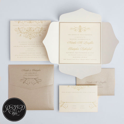 Vineyard Estate Romantic Wedding Invitation Suite