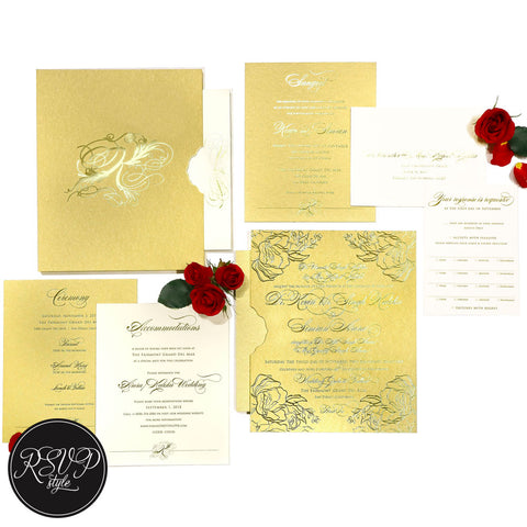 Ornate Rose Wedding Invitation Suite