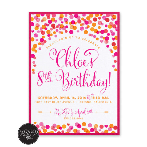 Joyful Confetti Birthday Invitation