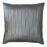 Leather Paillettes Throw Pillow  |  Silver