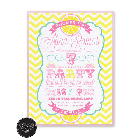 Lemonade in the Shade Birthday Invitation