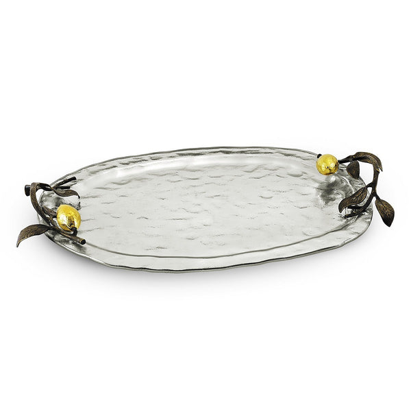 Lemonwood Silver Glass Tray