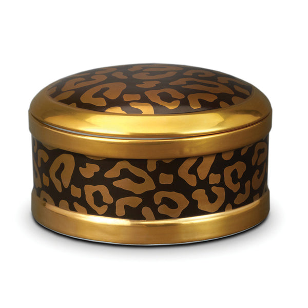 Leopard Round Box, vendor-unknown - RSVP Style