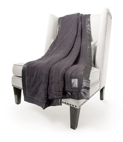 Little Giraffe Luxe Twist Throw | Charcoal