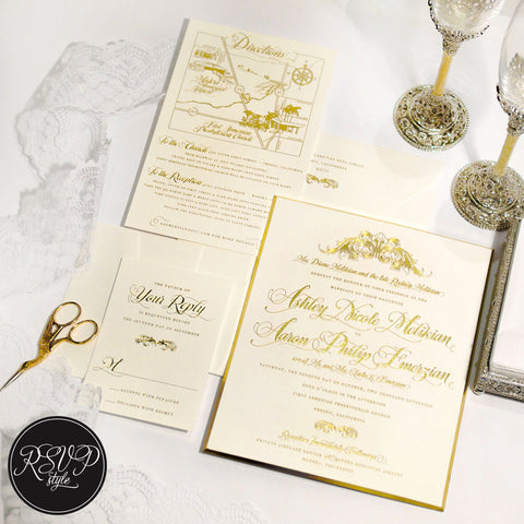 Ornate Filigree Custom Wedding Invitation Suite - RSVP Style